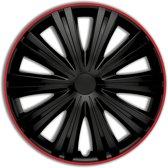 Autostyle Wieldoppen Giga 16 Inch Abs Zwart/rood Set Van 4