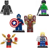 Avengers Superhelden| Mini Figuren | Poppetjes Set | 6 Stuks | Iron Man | Hulk Speelfiguur | Captain America