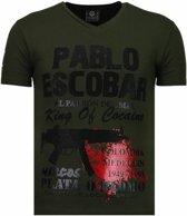 Local Fanatic Pablo Escobar Narcos - Rhinestone T-shirt - Groen - Maten: S