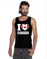 Zwart I love Canada supporter singlet shirt/ tanktop heren - Canadees shirt heren L