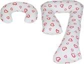 Zwangerschapskussens | J-vorm 235 cm incl. voedingskussen | | Wit met rode hartjes