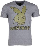 Mascherano T-shirt - Destroy - Grijs - Maat: M