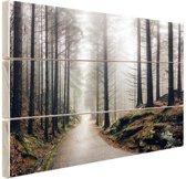 Mist in de bergen Hout 30x20 cm - klein - Foto print op Hout (Wanddecoratie)