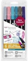 Tombow ABT Dual - Brush tekenpennen - Vintage kleuren - Set van 6
