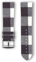 100% katoenen horlogeband met leder (achterzijde) Nisha 24 mm