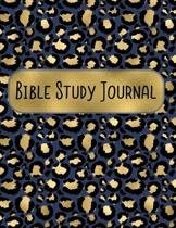 Bible Study Journal: 8.5 x 11 Navy Blue & Gold Leopard Pattern Daily Scripture Notebook with Prompt Questions