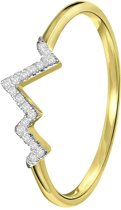 Lucardi - Diamond Luxury - 14 Karaat geelgouden ring hartslag met diamant