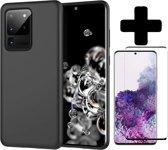 Samsung Galaxy S20 Ultra Hoesje Zwart Siliconen Case + Screenprotector Full Cover
