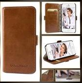 Echt Leer cover - iPhone 5(S) & SE hoesje - Lederen Book Case Bruin - BookCase (Rustic Cognac)
