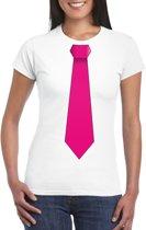 Wit t-shirt met roze stropdas dames 2XL