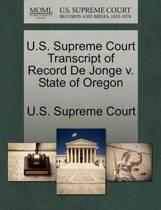 U.S. Supreme Court Transcript of Record de Jonge V. State of Oregon