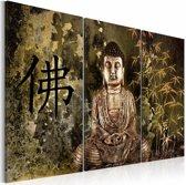 Schilderij - Boeddha, Bruin/Groen, 2 Maten, 3luik