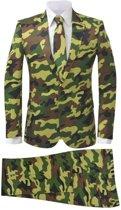 vidaXL Tweedelig herenkostuum met stropdas camouflage print maat 50