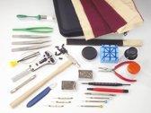 Westfalia Uurwerkmakers gereedschapsset, 28 stuks, in zwart kunst lederen etui