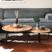 Bauhauschairs industriële salontafels - Set Kate mangohout - Metaal - Set-2