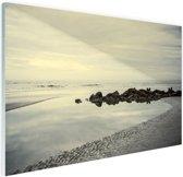 Strand in de ochtend Glas 120x80 cm - Foto print op Glas (Plexiglas wanddecoratie)
