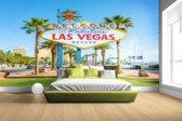 Fotobehang vinyl - Welkomstbord Las Vegas bij daglicht breedte 380 cm x hoogte 265 cm - Foto print op behang (in 7 formaten beschikbaar)