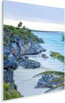 Tulum de oude havenstad aan de Caribische Zee in Mexico Plexiglas 120x180 cm - Foto print op Glas (Plexiglas wanddecoratie) XXL / Groot formaat!