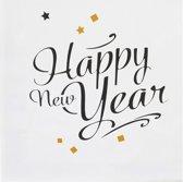 20 goudkleurige Happy New Year servetten - Feestdecoratievoorwerp
