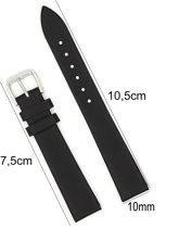 Horlogeband Leer - 10mm - Met Gladde Oppervlak + Push Pin - Kalfsleer - Zwart