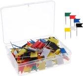 Punaises Voor Prikbord - 125 stuks - Gekleurde - Vlag - Speld - Knutselpakket - Wereldkaart - Kantoor
