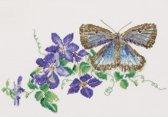 Thea Gouverneur Borduurpakket 438A Vlinder Blauwtje  Clematis - Aida stof 100% katoen