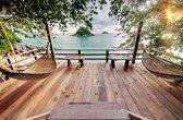 Tuindoek houten terras bij zee