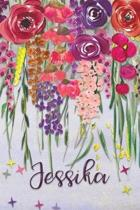 Jessika: Personalized Lined Journal - Colorful Floral Waterfall (Customized Name Gifts)