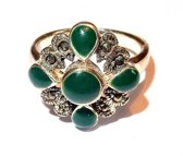 Zilveren Ring met groen Emaille