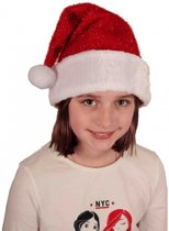 10x Voordelige pluche Kerstmuts met glitters voor kinderen - goedkope / voordelige kinder Kerstmutsen