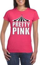 Pretty in Pink shirt roze met witte letters voor dames L