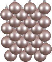 24x Lichtroze glazen kerstballen 6 cm - Mat/matte - Kerstboomversiering Lichtroze