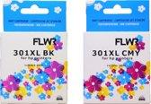 FLWR - Inktcartridge / 301XL 2-pack Zwart en Kleur - Geschikt voor HP