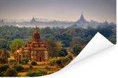 Mistige ochtend in Bagan Myanmar Poster 60x40 cm - Foto print op Poster (wanddecoratie woonkamer / slaapkamer) / Aziatische steden Poster