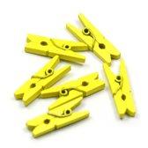 Mini Wasknijpers - Hout - Geel - 3 cm - 200 stuks