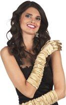 Goudkleurige lange handschoenen voor vrouwen - Verkleedattribuut
