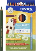 Super Ferby 1 Kleurpotloden, kleuren assorti, vulling: 6,25 mm, l: 18 cm, 12stuks