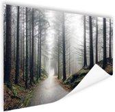 Mist in de bergen Poster 90x60 cm - Foto print op Poster (wanddecoratie woonkamer / slaapkamer)