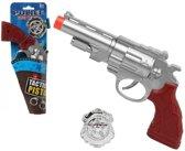 Politie speelgoed pistool 27 cm - speelgoed verkleed pistool zilver