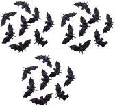 24x Plastic vleermuizen 10 cm - Halloween/horror decoratie/versiering - Vleermuis 24 stuks