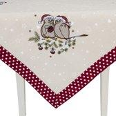 Clayre & Eef - Tafelkleed - Kerst - Geborduurde Vogels op kerst tak - 85 x 85 cm
