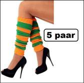 5x Paar Beenwarmers oranje/groen