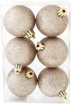 Cosy&Trendy Kerstballen Ø 6 cm - Champagne glitter - Set-6