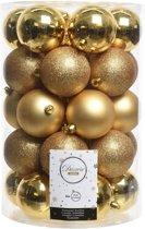 34x Gouden kerstversiering kerstballenset kunststof - 8 cm - kerstbal