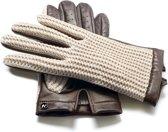 napoCROCHET Echt lederen touchscreen handschoenen Bruin/Beige maat S