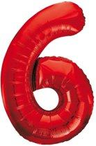 Cijfer 6 Rood Helium 86 cm