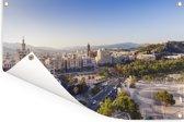 Cityscape van Málaga Tuinposter 120x80 cm - Tuindoek / Buitencanvas / Schilderijen voor buiten (tuin decoratie)