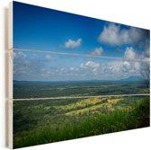 Uitzicht vanaf de Sigiriya rots Vurenhout met planken 90x60 cm - Foto print op Hout (Wanddecoratie)