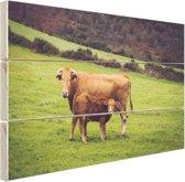 Koe en kalf in een weiland Hout 30x20 cm - Foto print op Hout (Wanddecoratie)