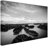 Noordzee eilanden zwart-wit foto Canvas 80x60 cm - Foto print op Canvas schilderij (Wanddecoratie woonkamer / slaapkamer)